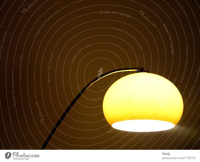 gemütlich gelb Lampe dunkel hell Raum retro rund Dekoration & Verzierung Häusliches Leben Kugel Innenarchitektur Möbel Haushalt