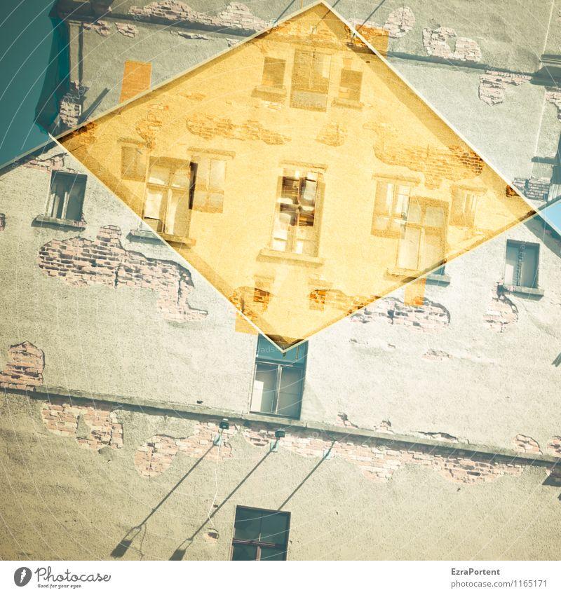 auf Kante Stadt alt Haus Fenster Wand Architektur Gebäude Mauer Stein Linie Fassade Wohnung Design Häusliches Leben dreckig ästhetisch