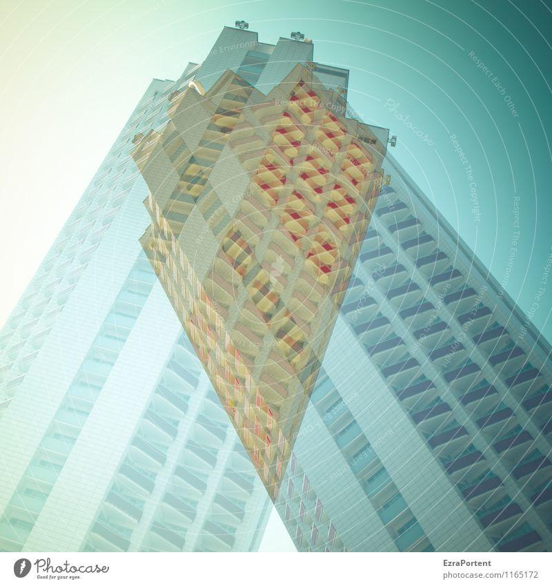 /\ Himmel Stadt blau rot Haus Wand Architektur Stil Gebäude Mauer grau Stein Linie Fassade Wohnung Design