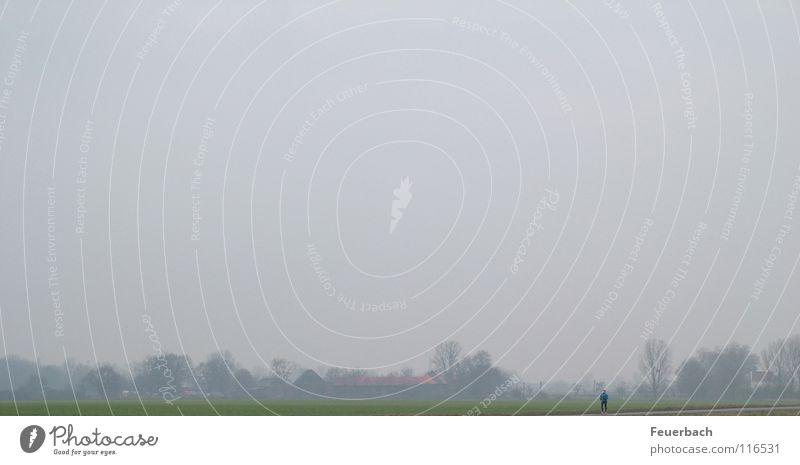 Frostlauf Winter Haus Joggen Mann Erwachsene 1 Mensch Landschaft Luft Himmel Horizont Eis Baum Wiese Feld Stadtrand laufen kalt klein trist Willensstärke