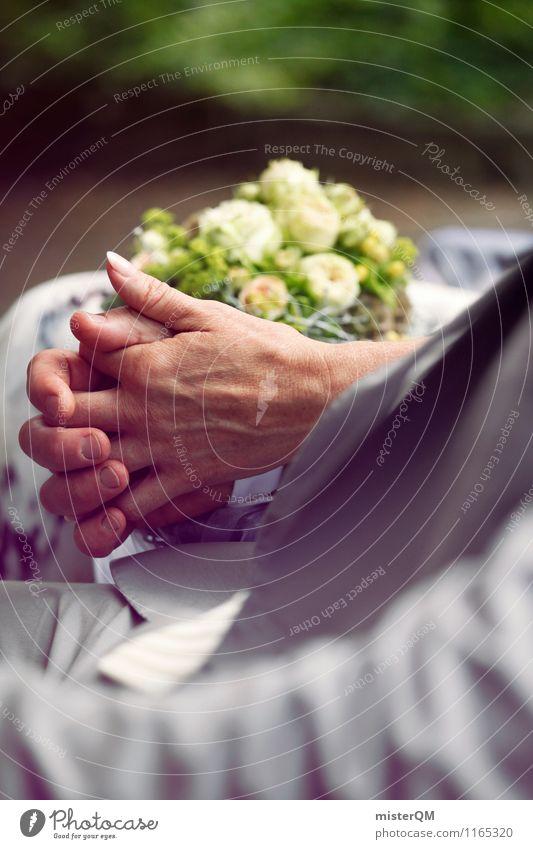 Ein schöner Tag I Kunst ästhetisch Zufriedenheit Blumenstrauß Hochzeit Hochzeitszeremonie Hochzeitsgesellschaft Hand Partnerschaft Zusammensein Farbfoto