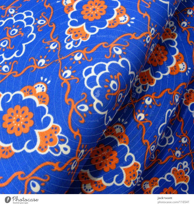 Gespinst blau schön Stil Linie orange Dekoration & Verzierung Fröhlichkeit ästhetisch retro Netzwerk Stoff exotisch trashig diagonal skurril DDR
