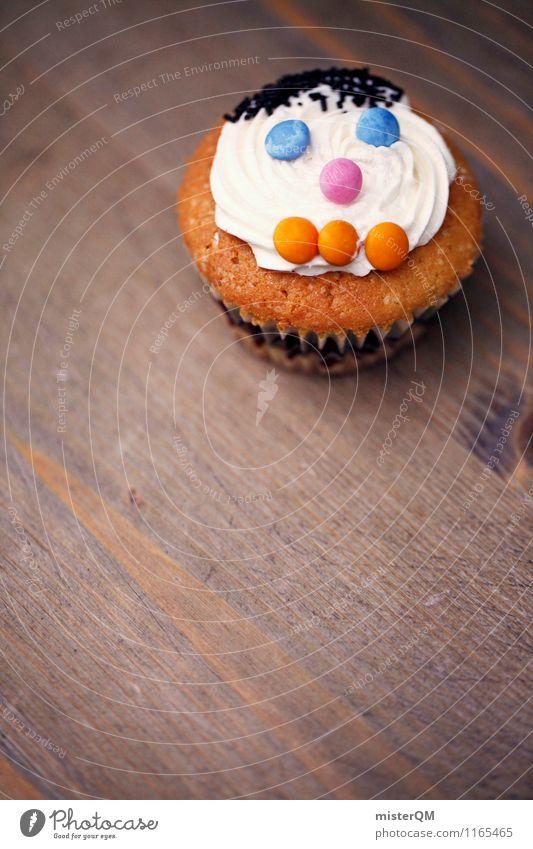 Muffin Mann I Lebensmittel Kunst ästhetisch Gesicht Backwaren lecker Kalorienreich Tisch schön süß Zucker Dekoration & Verzierung Kindergeburtstag Farbfoto