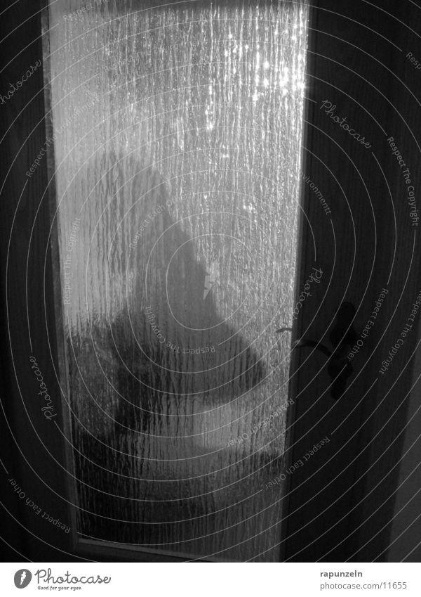 Silhouette Frau Mensch Sonne Glas Tür werfen Voyeurismus entkleiden anziehen Milchglas