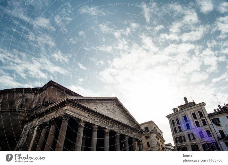 When in Rome: Hoch hinaus Himmel Wolken Sommer Schönes Wetter Wärme Italien Europa Stadt Hauptstadt Stadtzentrum Altstadt Bauwerk Gebäude Mauer Wand Fassade