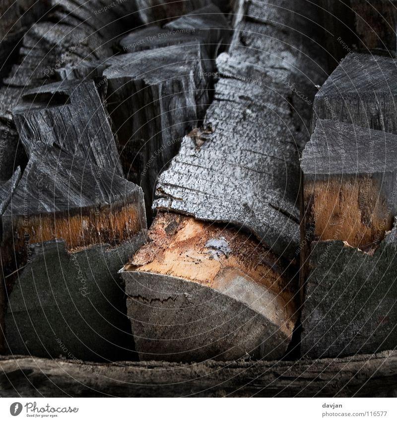 Holz vor der Hütte schwarz grau braun Wetter Baumstamm Baumrinde Faser