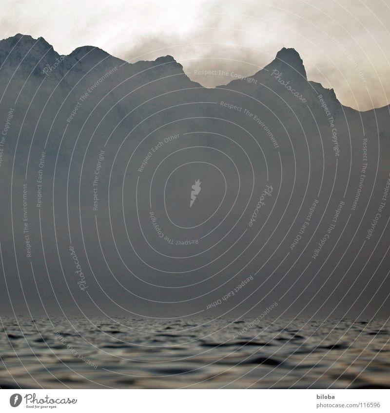 Elements I Himmel Wasser Einsamkeit Winter dunkel Berge u. Gebirge kalt Leben grau See Stein Erde Felsen Nebel Luft Angst