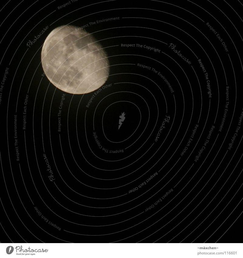 Himmelskörper Ferne Mondschein dunkel schwarz weiß grau Vulkankrater Nacht schlafen ruhig träumen Luftverkehr Himmelskörper & Weltall moon la le lu mann im mond