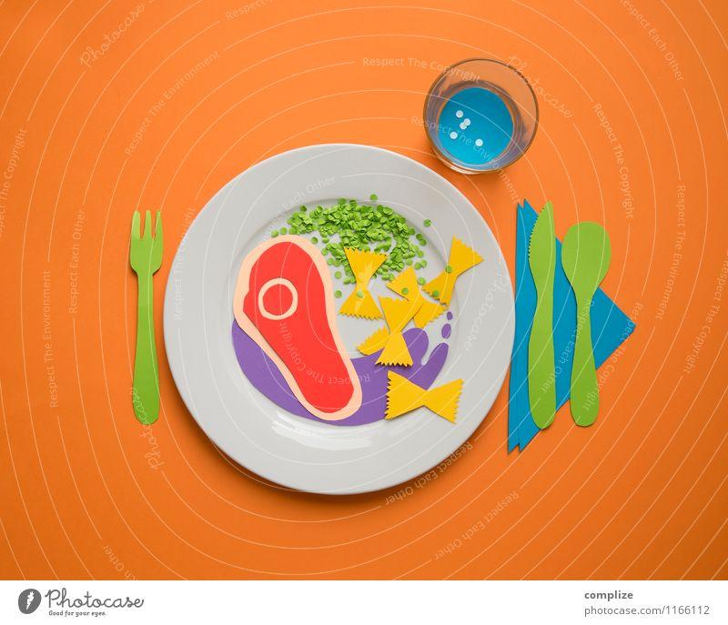 Bunter Teller Lebensmittel Fleisch Gemüse Teigwaren Backwaren Ernährung Essen Mittagessen Abendessen Festessen Bioprodukte Getränk Geschirr Besteck
