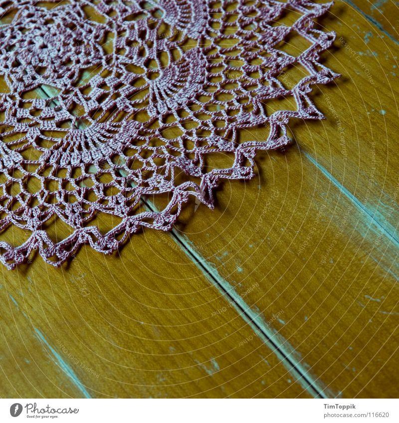 Oma Speyer Holz Kunst rosa Tisch Dekoration & Verzierung Küche Wohnzimmer Decke Nähgarn Maserung altmodisch Kunsthandwerk Holztisch Kaffeetrinken häkeln