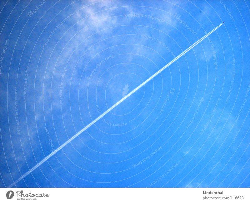 SPEED Himmel blau Wolken Linie Flugzeug Luftverkehr direkt steigen steil Düsenflugzeug