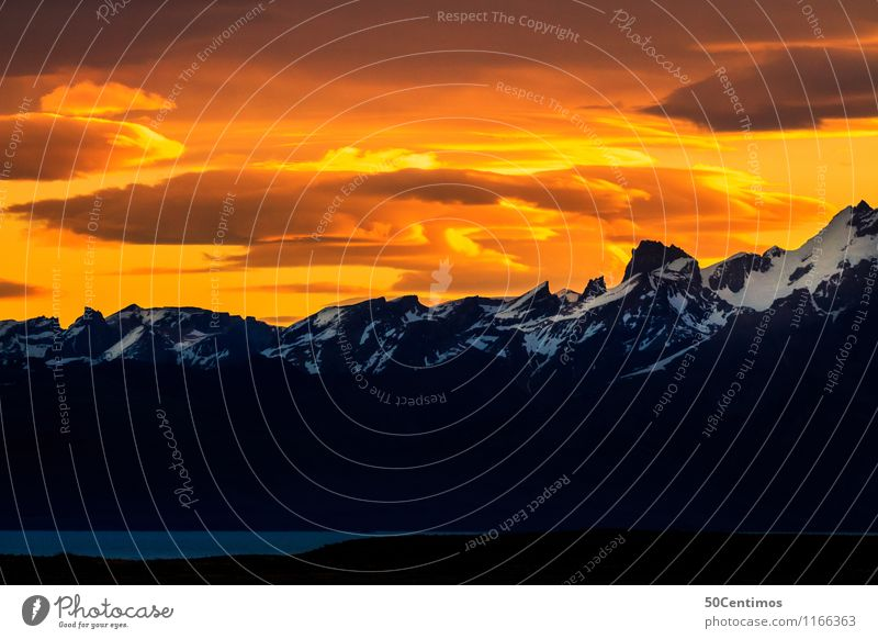 The sky is burning Himmel Natur Ferien & Urlaub & Reisen Farbe Landschaft Wolken ruhig Winter Ferne Berge u. Gebirge kalt Schnee Zeit Tourismus Freiheit Ausflug