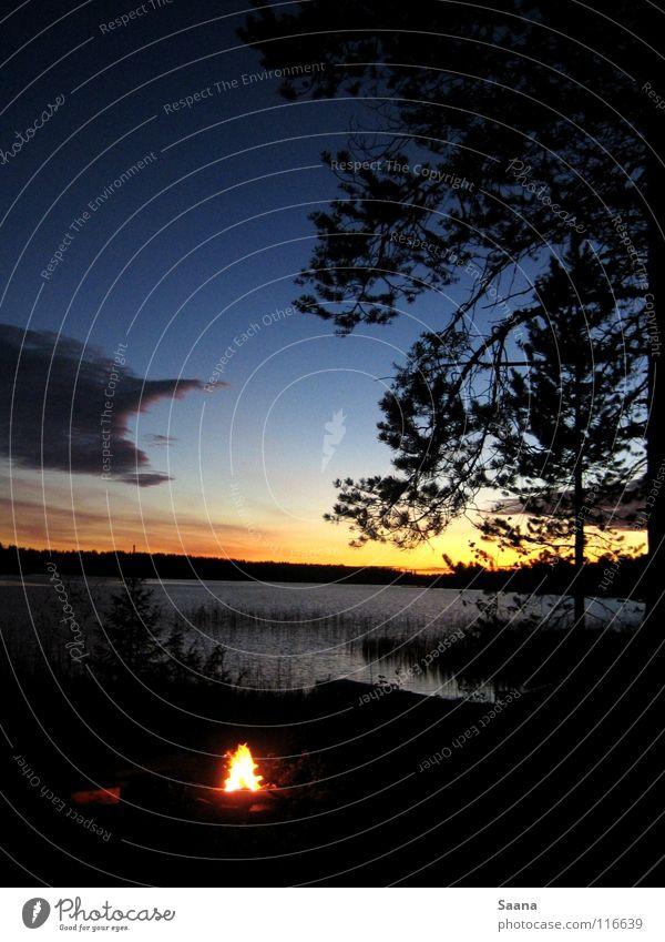 Ein Herbstabend am See in Lappland Wald Sonnenuntergang Dämmerung Frieden Küste Brand Natur Wasser Himmel Abend