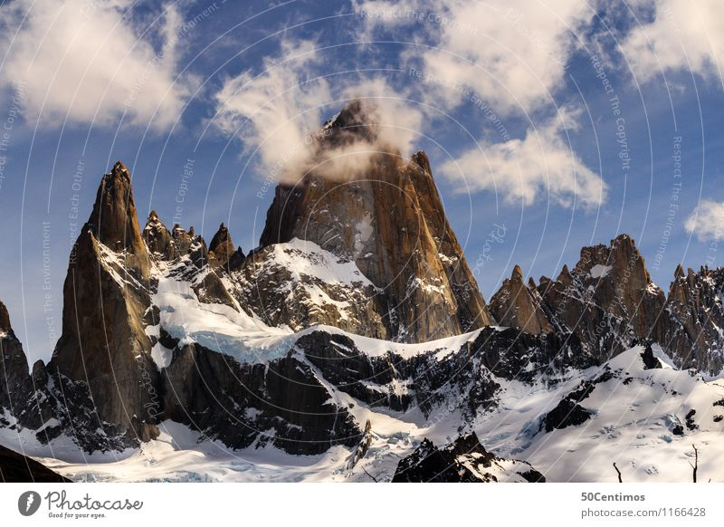 Fitz Roy in El Halten in Patagonia, Argentina Ferien & Urlaub & Reisen Tourismus Ausflug Abenteuer Ferne Freiheit Sightseeing Städtereise Winter Schnee