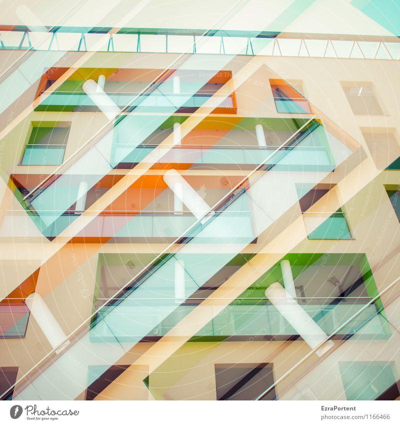 twice Design Häusliches Leben Dekoration & Verzierung Stadt Haus Bauwerk Gebäude Architektur Mauer Wand Fassade Balkon Stein Beton Linie Streifen ästhetisch