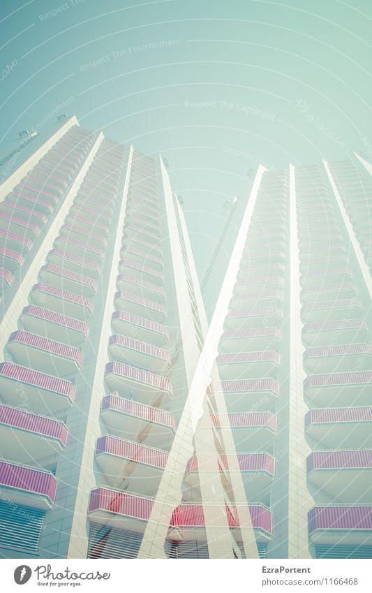 twice Design Häusliches Leben Wohnung Haus Himmel Wolkenloser Himmel Stadt Hochhaus Bauwerk Gebäude Architektur Fassade Balkon Fenster Stein Beton Linie