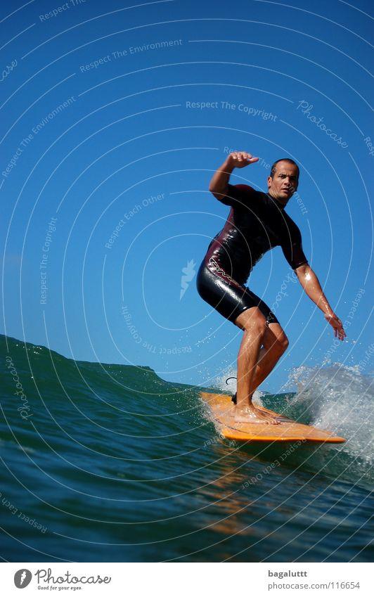 hang five Surfbrett extrem Wellen Meer Wassersport Horizont Küste Strand Ferien & Urlaub & Reisen grün weiß mystisch Brandung Umwelt Gefühle Erfrischung Wolken