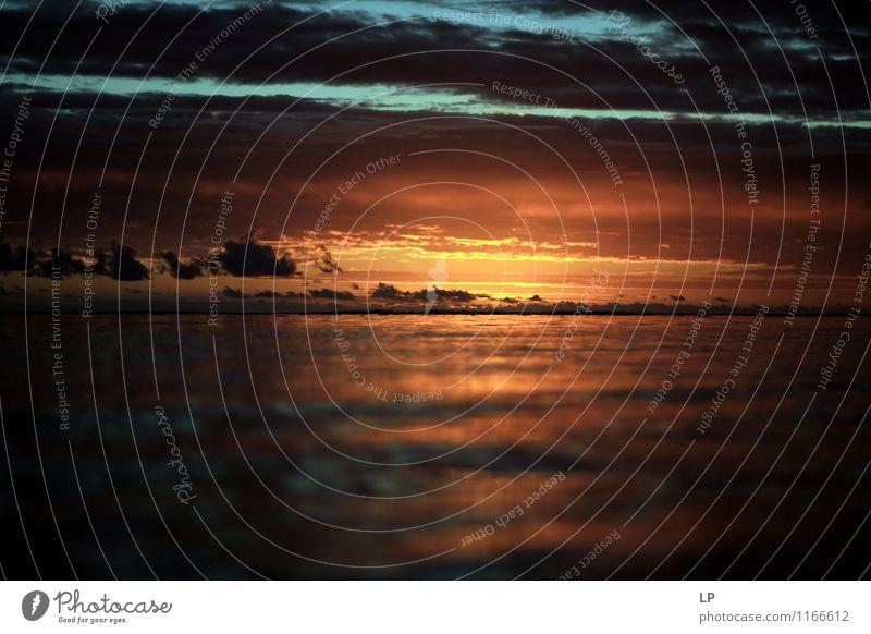 r3 Himmel Natur Ferien & Urlaub & Reisen blau Meer Landschaft Wolken braun oben Horizont orange Luft leuchten Kraft gold Erfolg