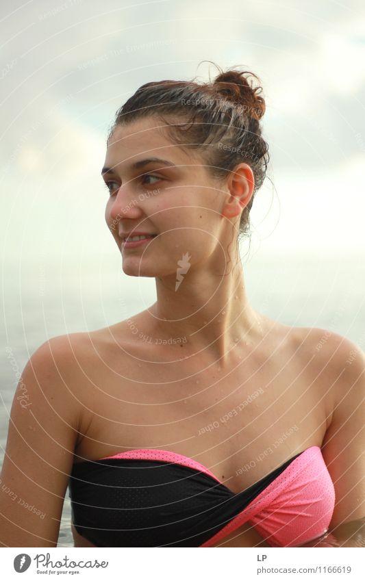 Mensch Jugendliche schön Junge Frau Erholung ruhig Freude Gesicht Leben feminin Stil Gesundheit Haare & Frisuren Schwimmen & Baden Lifestyle Zufriedenheit