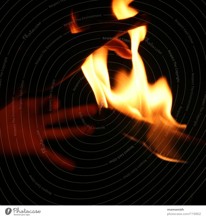 Hand ins Feuer dunkel Wärme hell Finger heiß geheimnisvoll brennen Flamme Glut Fackel Brandgefahr