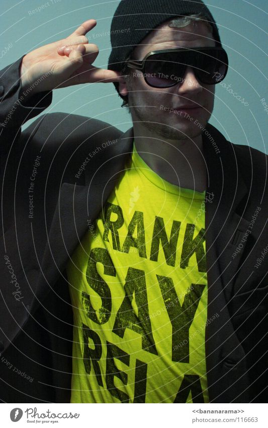 FRANKIE SAYS RELAX Freak Brille Baseballmütze Anzug Neonlicht gelb grau Stil Mann Freude Club Werbung Frankie T-Shirt Kappe Farbe blau Gesicht Face