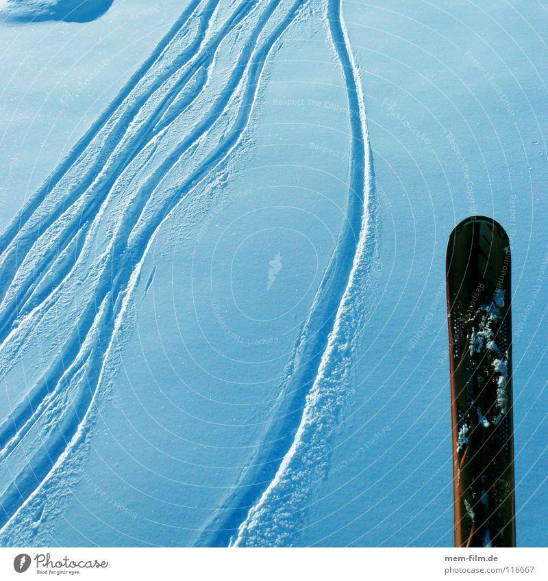 skispur Tiefschnee Schweiz Skifahren Winter Wintersport Spuren weiß Hintergrundbild Schneespur Wechte Ferien & Urlaub & Reisen Winterurlaub Berge u. Gebirge