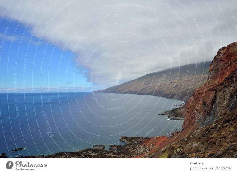spheres Landschaft Himmel Wolken Horizont Wetter Schönes Wetter schlechtes Wetter Wald Felsen Berge u. Gebirge Küste Meer blau braun grau grün rot weiß Ferne