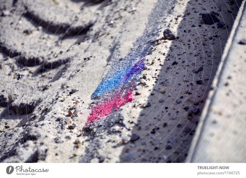 """Boden- und Ackertag   Land-Art Kunst Kunstwerk Umwelt Erde Sand Sonnenlicht Schönes Wetter Menschenleer Straße """"Straßenbau Baggerspur Markierung"""" Lastwagen"""