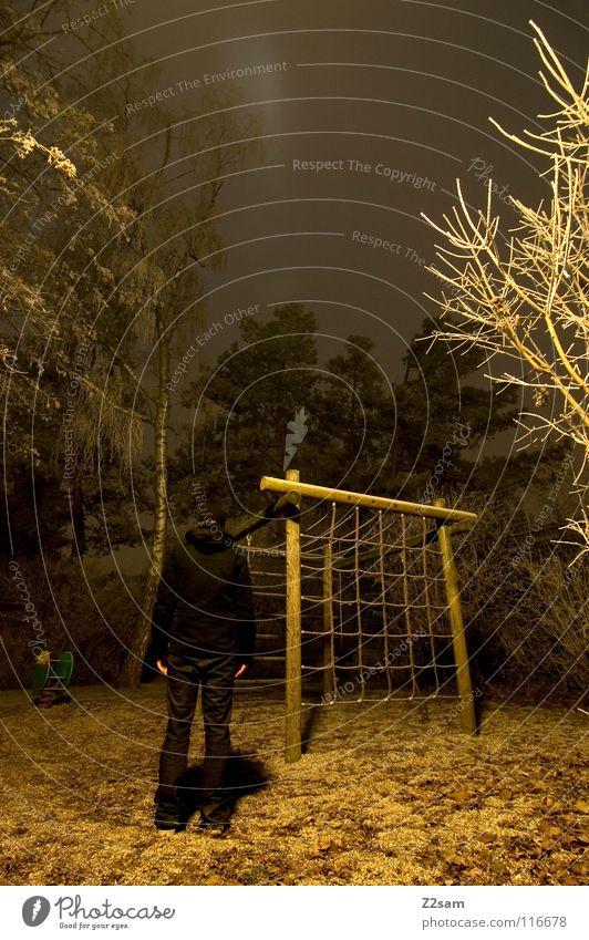 nachtgestallt II Mensch Natur Baum Winter schwarz gelb Straße dunkel kalt Beleuchtung Angst stehen Sträucher gruselig gefroren durchsichtig