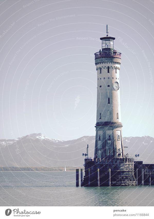 tagwächter Ferien & Urlaub & Reisen Wasser Landschaft Frühling See leuchten Zeichen Urelemente Alpen Hafen Wahrzeichen Sehenswürdigkeit Leuchtturm Bodensee