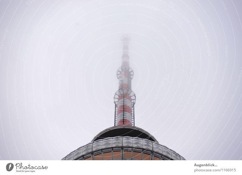 rot weiß rot weiß... Telekommunikation Himmel Frühling Herbst schlechtes Wetter Nebel Regen Berlin Hauptstadt Stadtzentrum Platz Bauwerk Antenne