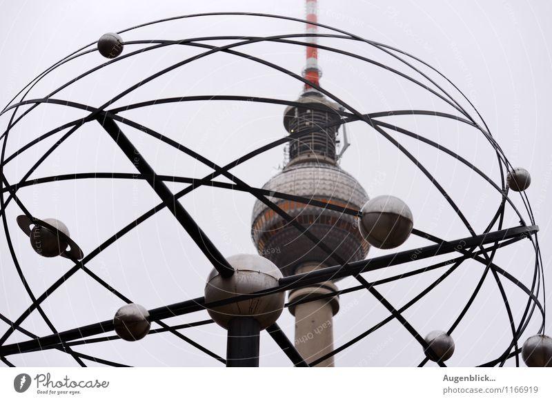 Drumherum... Ferien & Urlaub & Reisen grau Zeit Metall Zufriedenheit Uhr Glas Telekommunikation Beton Turm Bauwerk Wahrzeichen Hauptstadt Fernseher Stadtzentrum