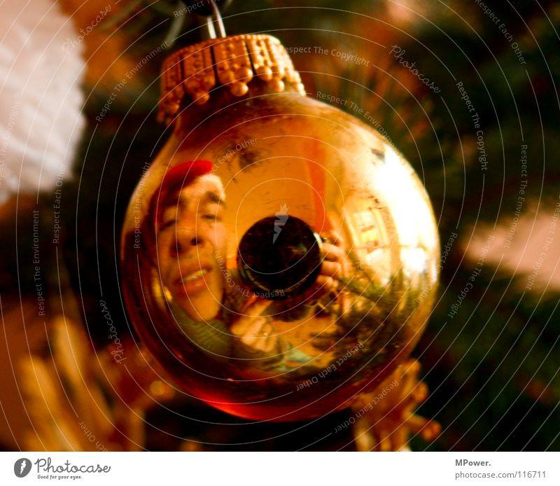 Kugelwicht Weihnachten & Advent Winter Gesicht gold maskulin niedlich Kugel Weihnachtsmann Weihnachtsdekoration Christbaumkugel Selbstportrait Linse aufhängen Spiegelbild Verzerrung