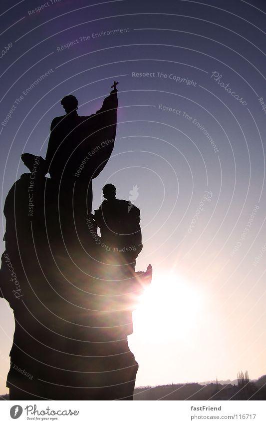 3x Heiligenschein auf Leinwand Sonne Religion & Glaube Beleuchtung historisch Denkmal Statue Wahrzeichen Skulptur Tempel Barock Prag Karlsbrücke