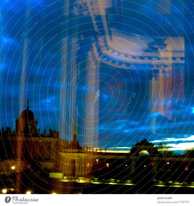 Festsaal Himmel alt Wolken dunkel Innenarchitektur Architektur Gebäude Kunst Raum offen Glas groß leuchten Dekoration & Verzierung Kultur Kitsch