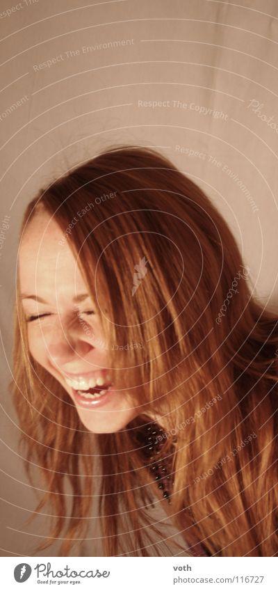 Lachen macht schön Frau rot Freude lachen Haare & Frisuren Mensch laut