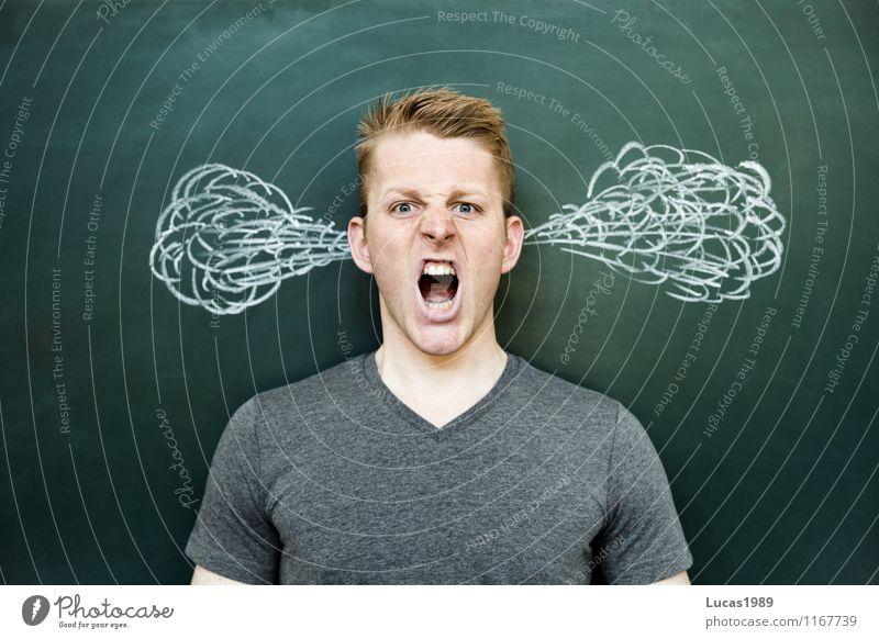 schreinender junger Mann der wütend ist und dem Dampf aus den Ohren kommt Gesundheit Mensch maskulin Junger Mann Jugendliche Erwachsene 1 18-30 Jahre