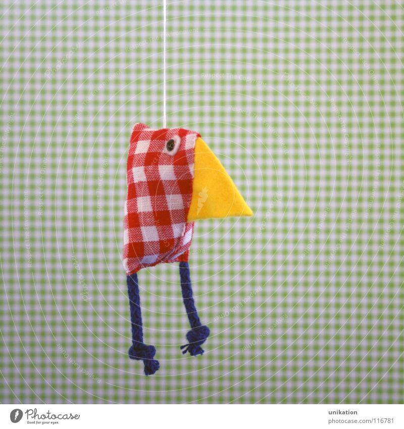 Paula-Huhn grün rot gelb Erholung lustig Kindheit Vogel süß Geschenk Stoff Dekoration & Verzierung Mobilität Handwerk hängen kariert Schnabel