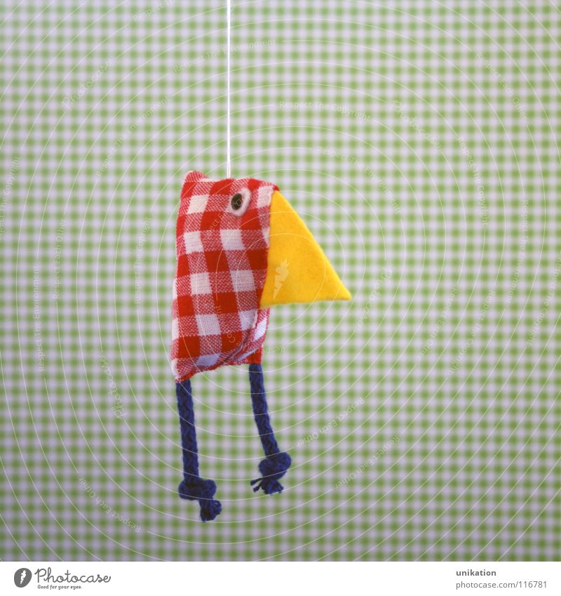 Paula-Huhn Haushuhn Vogel Hahn Muster Handwerk hängen rot grün selbstgemacht Mobilität kariert Geschenk Accessoire Dekoration & Verzierung lustig Unikat süß