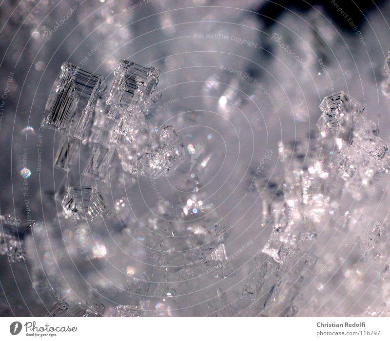 Frozen III Nahaufnahme Makroaufnahme Unschärfe Winter Schnee Wasser Eis Frost kalt Spitze Ecke Schneelandschaft Zucker Ast Eiskristal Schneekristal Kristal