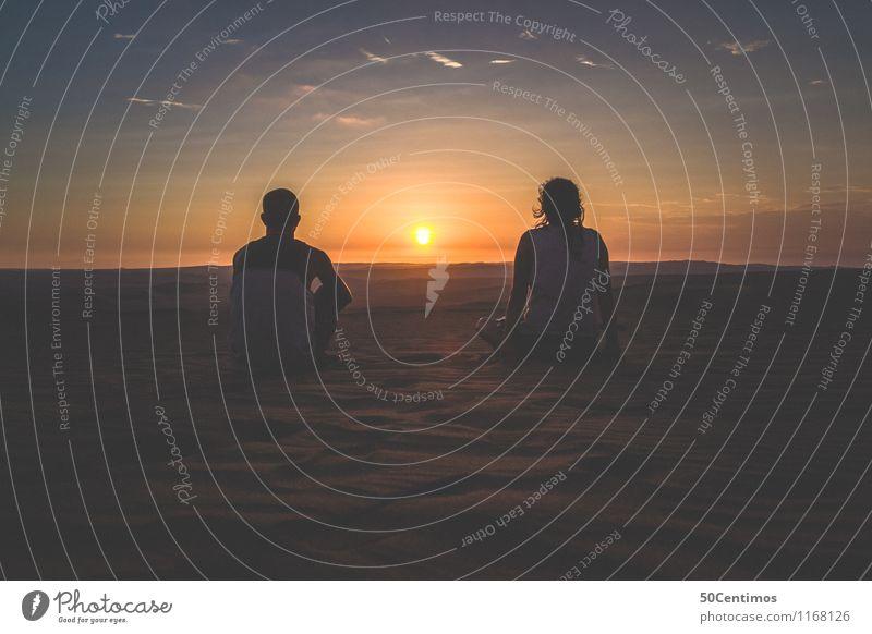 Zusammen auf Reise Mensch Ferien & Urlaub & Reisen Jugendliche Junge Frau Landschaft Junger Mann ruhig Ferne Leben Glück Freiheit Paar Horizont träumen Freizeit & Hobby Tourismus