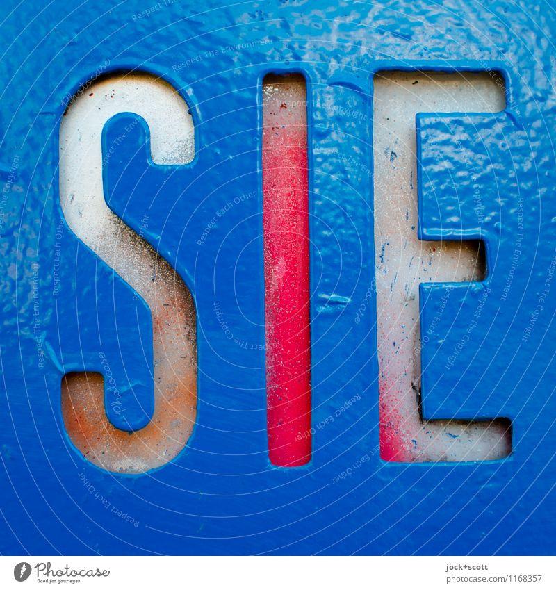 diese und jene Design Typographie Dekoration & Verzierung Metall Kunststoff Schilder & Markierungen Wort Großbuchstabe einfach fest nah retro blau Stimmung