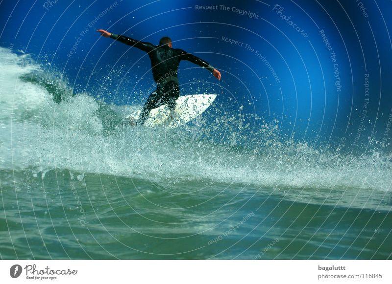 grün blau Surfbrett extrem Wellen Meer Wassersport Horizont Küste Strand Ferien & Urlaub & Reisen weiß mystisch Brandung Umwelt Gefühle Erfrischung Wolken