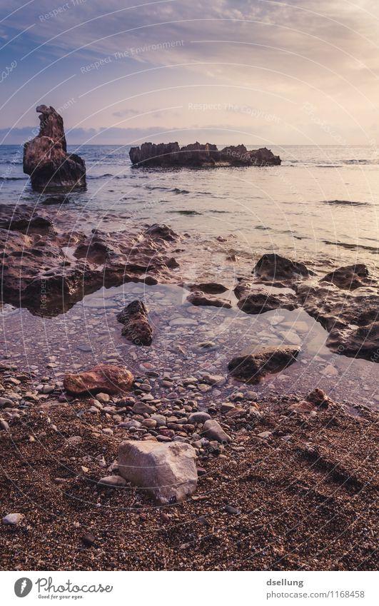 Steinküste im Morgenlicht freundlich felsig Weitwinkel Gegenlicht Panorama (Aussicht) Romantik Urelemente Reflexion & Spiegelung Lichterscheinung Farbfoto