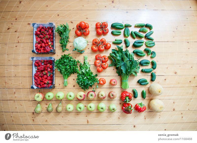 Obst, Gemüse, gesunde Ernährung Lebensmittel Salat Salatbeilage Frucht Apfel Picknick Bioprodukte Vegetarische Ernährung Diät Fasten schön Gesundheit