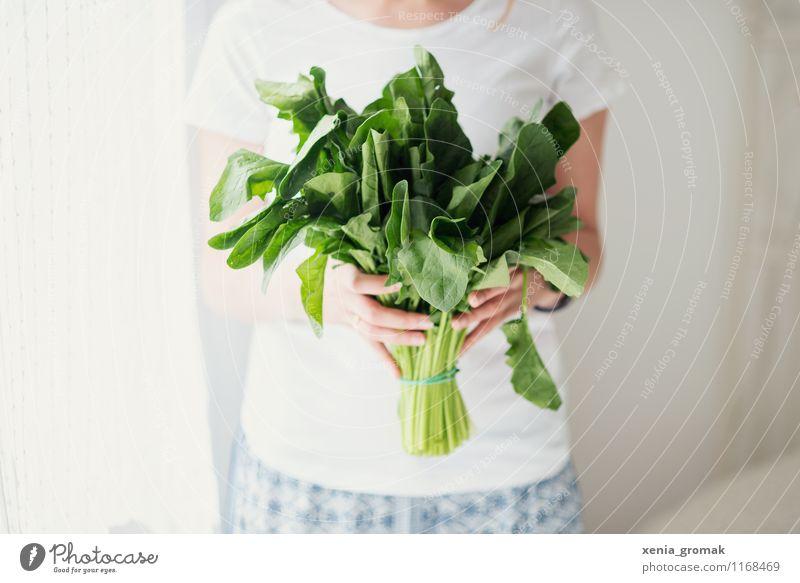 Spinat Mensch schön grün weiß Erholung Gesunde Ernährung Leben Gesundheit Lebensmittel Lifestyle Zufriedenheit genießen Fitness Wellness Gemüse