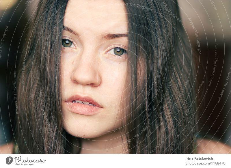 Mädchen Junge Frau Jugendliche Haare & Frisuren Gesicht Auge Lippen 1 Mensch 18-30 Jahre Erwachsene brünett dünn authentisch frei Fröhlichkeit niedlich schön