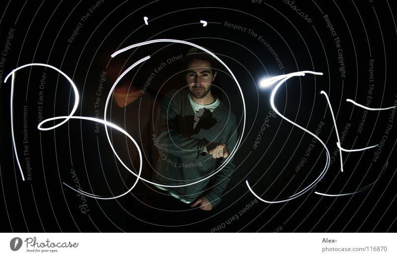 Gegenteil von Gut Mann dunkel Luft hell Schriftzeichen Bad schreiben Wut böse Ärger Taschenlampe beschmutzen