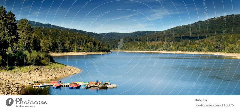 Idylle Wasser blau Strand ruhig See Panorama (Bildformat) abgelegen Schwarzwald Staumauer