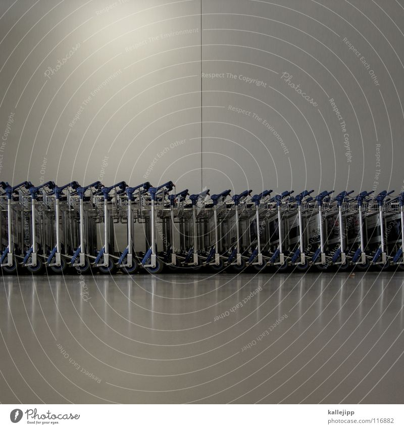 koffer to go Abflughalle Ankunft Gepäck Wagen Handwagen Verkehrsstau Norm Eile nehmen schieben Bodenbelag Reflexion & Spiegelung Wand Lampe steril unpersönlich